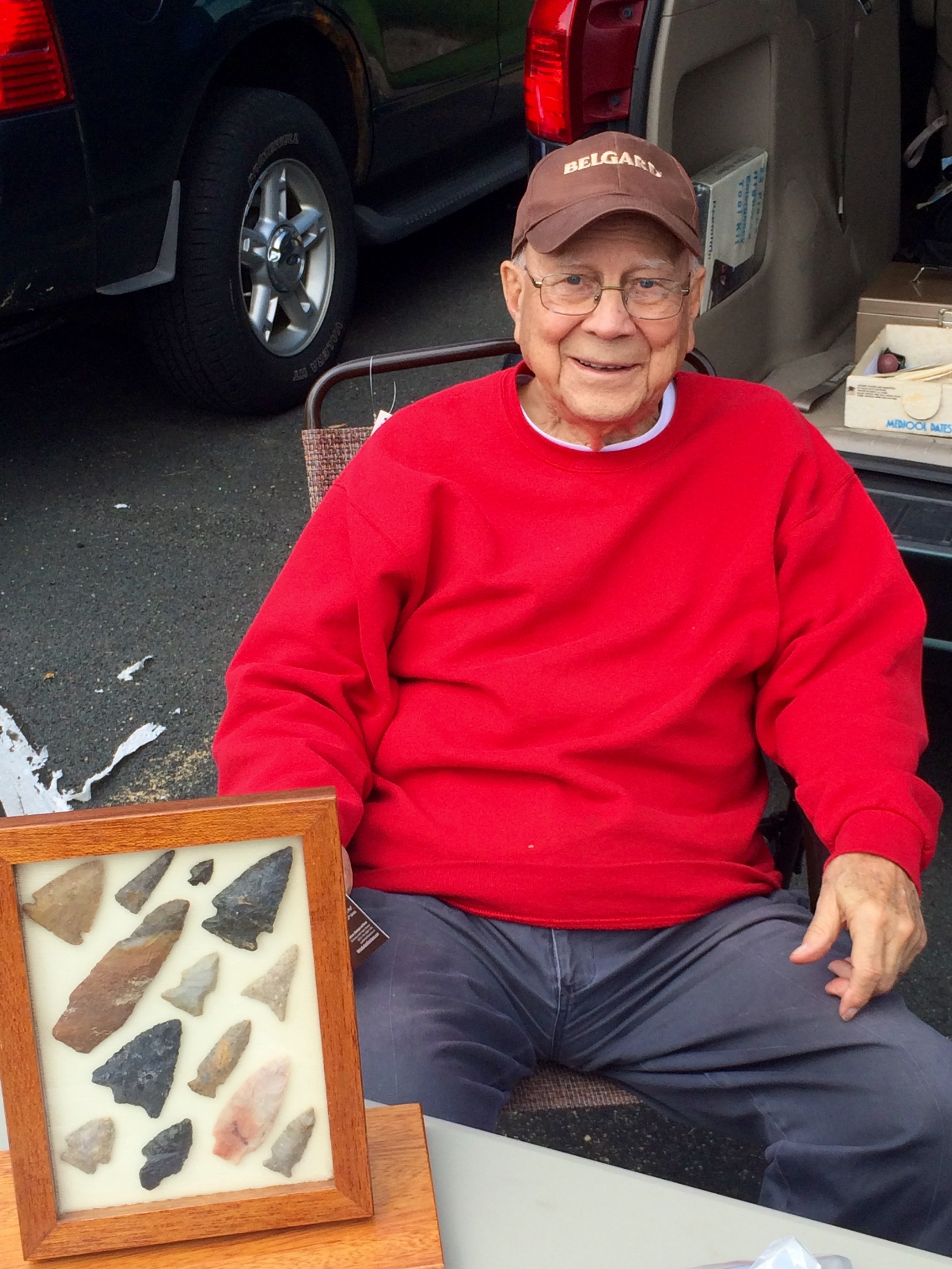 Mr. Lynn Rood with arrowheads inherited from his grandfather  at the Osseo Rock Swap