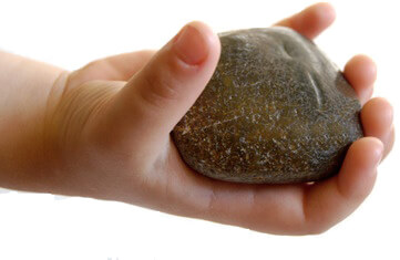 Child's Hand Holding Up a Rock