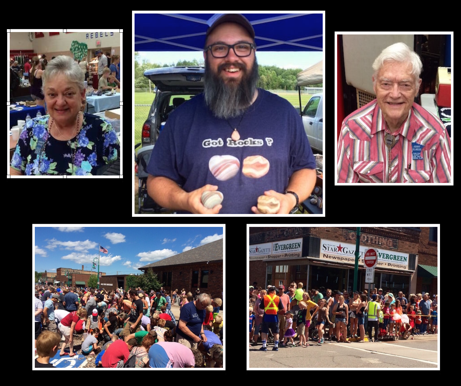 Photo collage of the friendly faces of the Moose Lake Agate Days