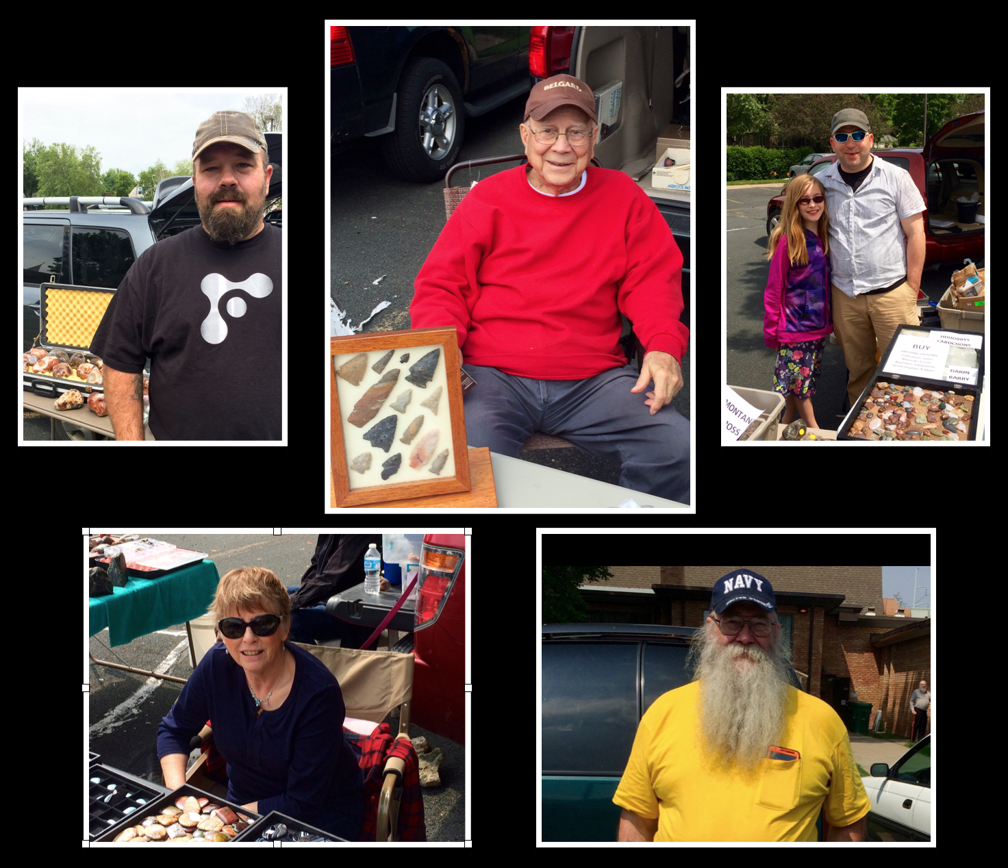 Photo collage of the friendly faces of the Osseo Rock Swap